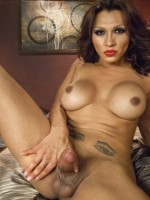 TS Jessy Dubai jerking off her stiff tranny cock