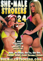 Jesse Flores jerks off her big cock in Shemalestrokers #24